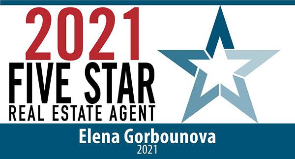 2021 Five Star Real Estate Agent Elena Gorbounova